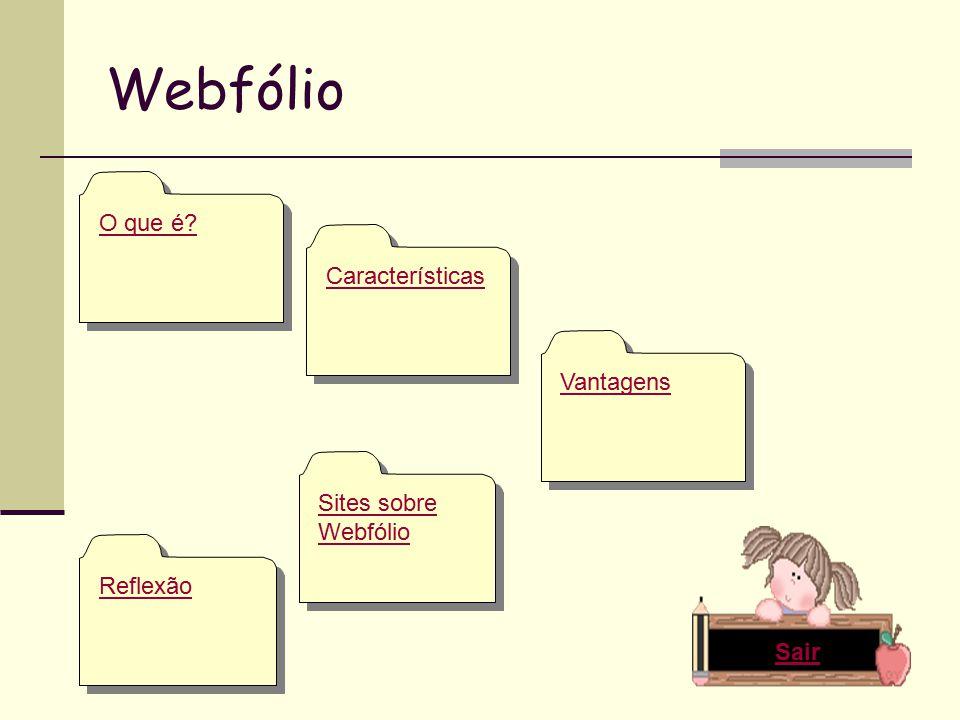 Webfólio O que é Características Sites sobre Webfólio Sites sobre Webfólio Vantagens Reflexão Sair