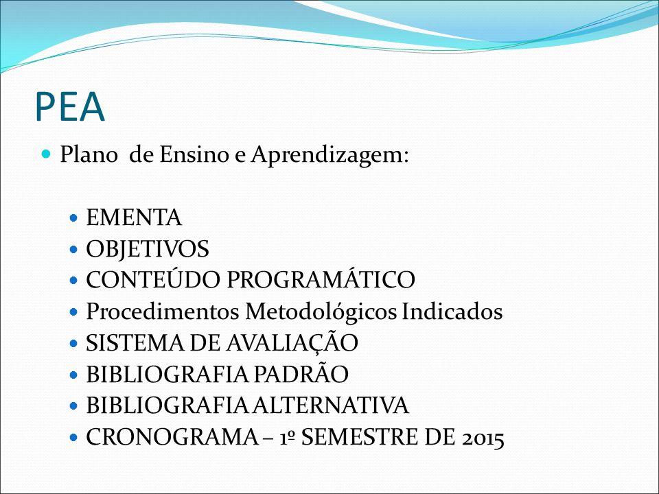 PEA Plano de Ensino e Aprendizagem: EMENTA OBJETIVOS CONTEÚDO PROGRAMÁTICO Procedimentos Metodológicos Indicados SISTEMA DE AVALIAÇÃO BIBLIOGRAFIA PADRÃO BIBLIOGRAFIA ALTERNATIVA CRONOGRAMA – 1º SEMESTRE DE 2015