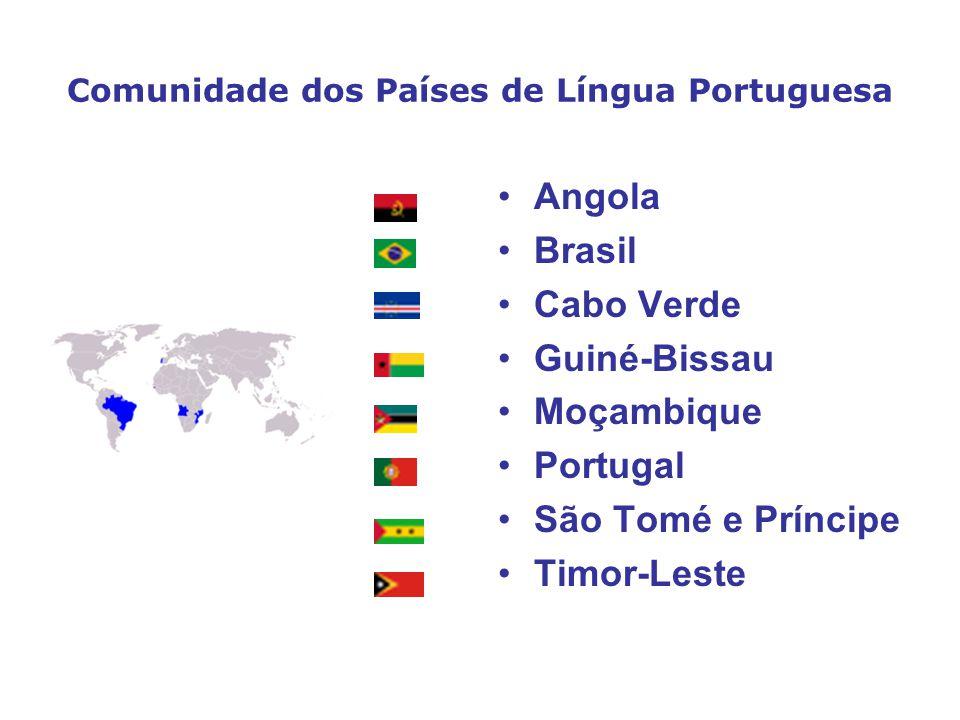 Comunidade dos Países de Língua Portuguesa Angola Brasil Cabo Verde Guiné-Bissau Moçambique Portugal São Tomé e Príncipe Timor-Leste
