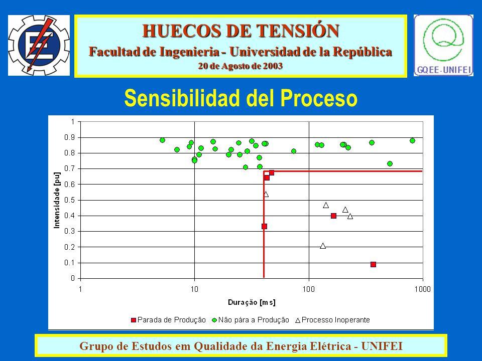 HUECOS DE TENSIÓN Facultad de Ingenieria - Universidad de la República 20 de Agosto de 2003 Grupo de Estudos em Qualidade da Energia Elétrica - UNIFEI Sensibilidad del Proceso