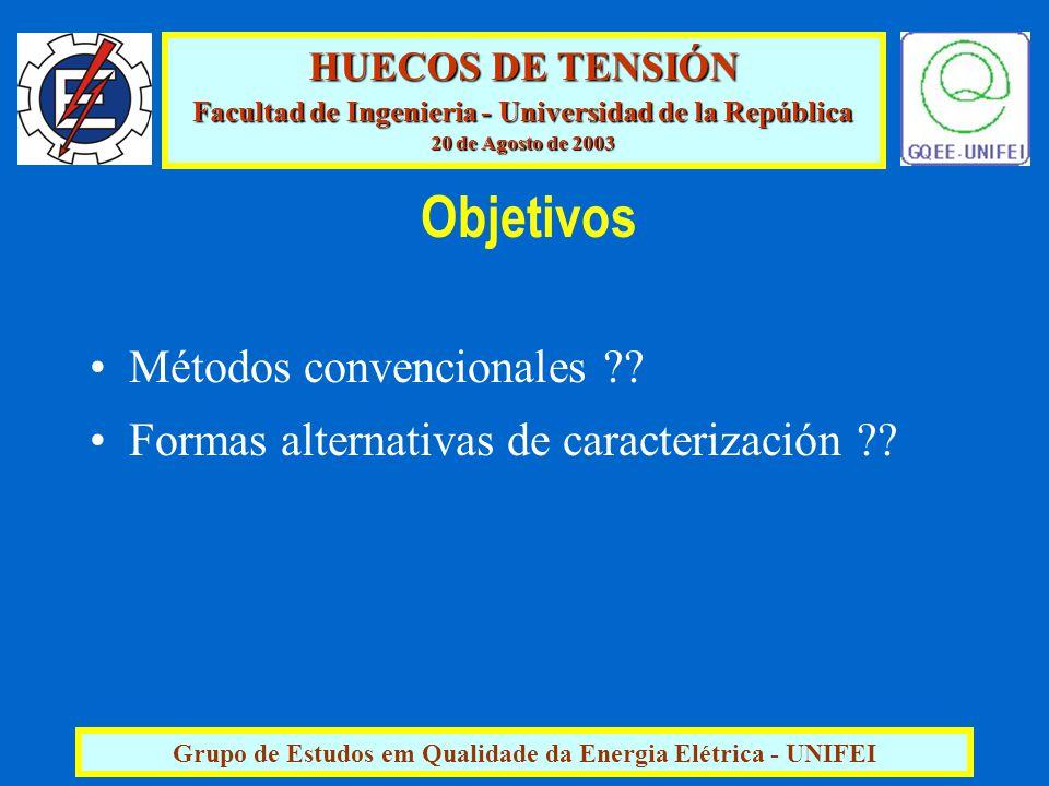 HUECOS DE TENSIÓN Facultad de Ingenieria - Universidad de la República 20 de Agosto de 2003 Grupo de Estudos em Qualidade da Energia Elétrica - UNIFEI Objetivos Métodos convencionales .