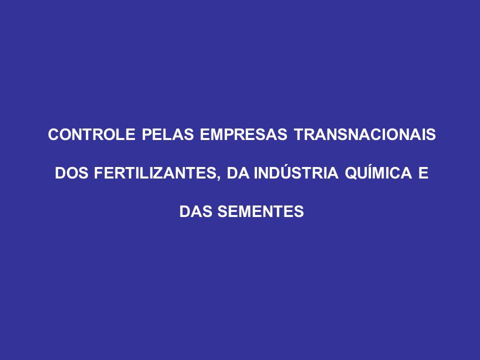 CONTROLE PELAS EMPRESAS TRANSNACIONAIS DOS FERTILIZANTES, DA INDÚSTRIA QUÍMICA E DAS SEMENTES