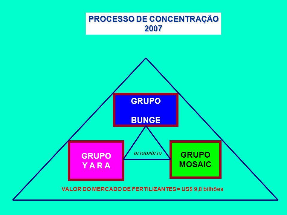 GRUPO BUNGE GRUPO Y A R A GRUPO MOSAIC PROCESSO DE CONCENTRAÇÃO 2007 VALOR DO MERCADO DE FERTILIZANTES = US$ 9,8 bilhões OLIGOPÓLIO