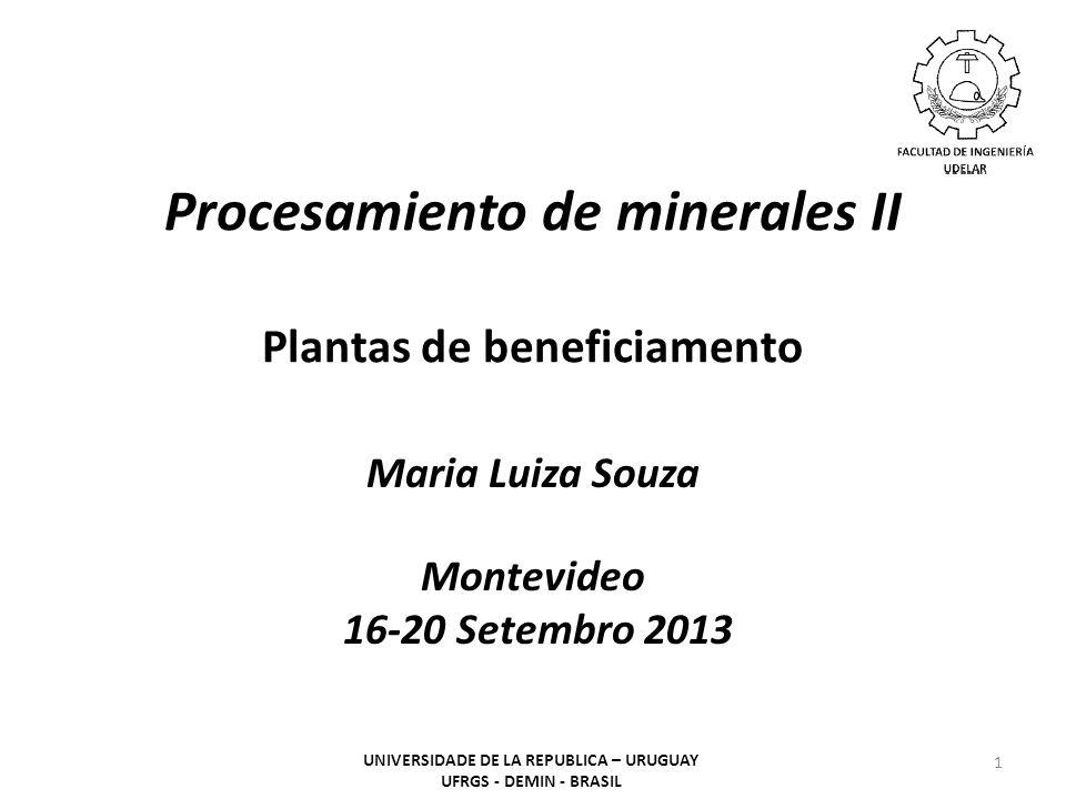 Procesamiento de minerales II Plantas de beneficiamento Maria Luiza Souza Montevideo 16-20 Setembro 2013 1 UNIVERSIDADE DE LA REPUBLICA – URUGUAY UFRGS - DEMIN - BRASIL