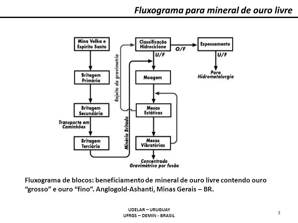 Fluxograma para mineral de ouro livre UDELAR – URUGUAY UFRGS – DEMIN - BRASIL 3 Fluxograma de blocos: beneficiamento de mineral de ouro livre contendo ouro grosso e ouro fino.