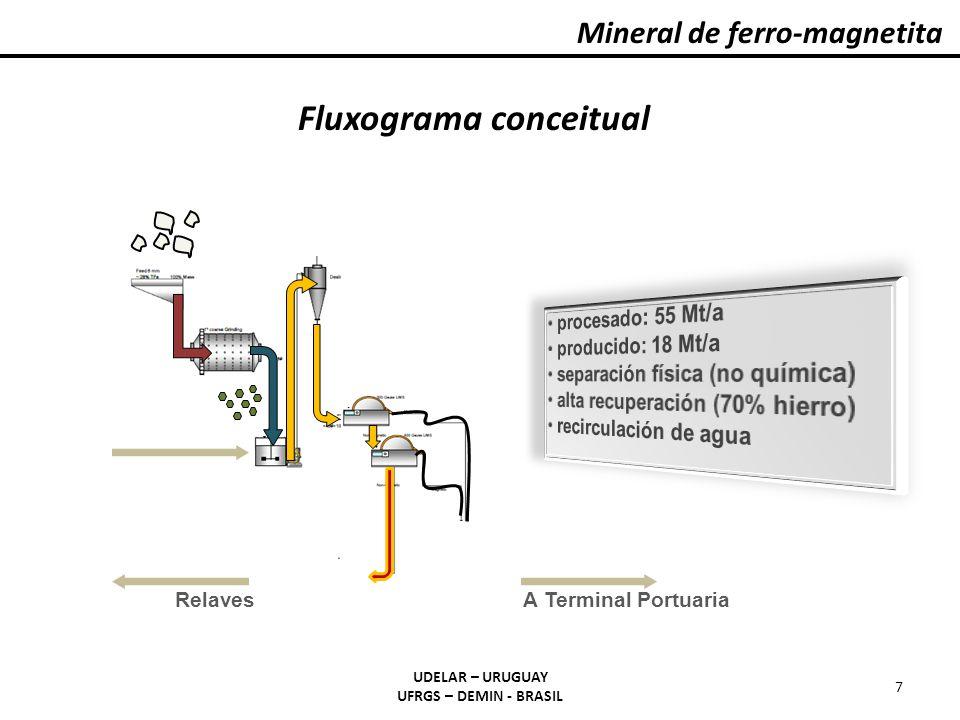 Mineral de ferro-magnetita UDELAR – URUGUAY UFRGS – DEMIN - BRASIL 7 A Terminal PortuariaRelaves Fluxograma conceitual