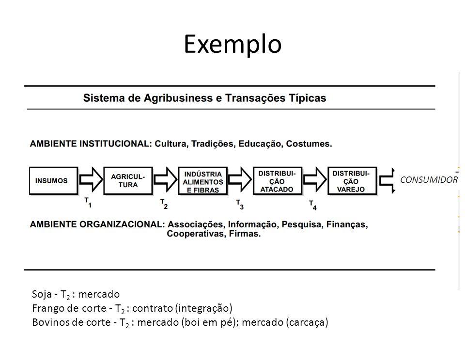 Exemplo Soja - T 2 : mercado Frango de corte - T 2 : contrato (integração) Bovinos de corte - T 2 : mercado (boi em pé); mercado (carcaça)