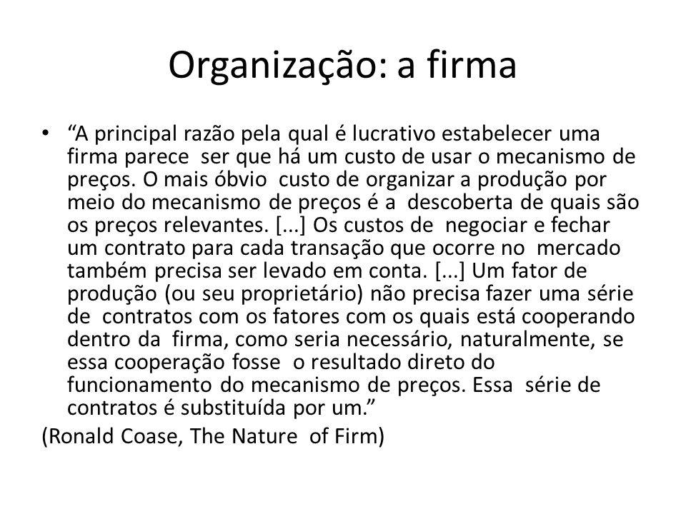 Organização: a firma A principal razão pela qual é lucrativo estabelecer uma firma parece ser que há um custo de usar o mecanismo de preços.