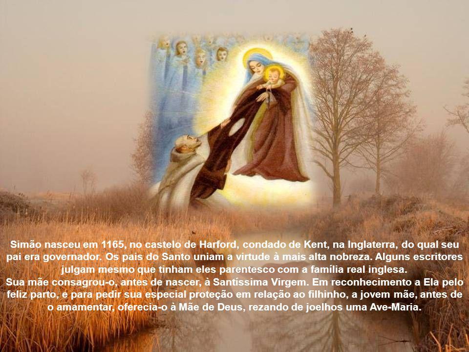Apareceu-lhe a Virgem, cercada de anjos, segundo a tradição, no dia 16 de julho de 1251 e mostrou-lhe o Santo Escapulário da Ordem, dizendo-lhe: Este será o privilégio para ti e todos os carmelitas; quem morrer com ele não padecerá com o fogo eterno, quer dizer, quem com ele morrer, se salvará .