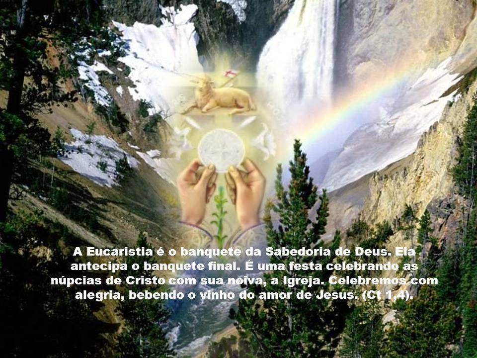 A Eucaristia é nossa celebração pascal de liberdade e vitória. É uma celebração de ação de graças. Bebemos do cálice das benções do Senhor; comemos o