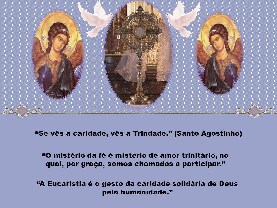 Maria, mulher eucarística, tu inauguras a participação da Igreja no sacrifício do Redentor. Tu és a Imaculada que acolhe incondicionalmente o dom de D