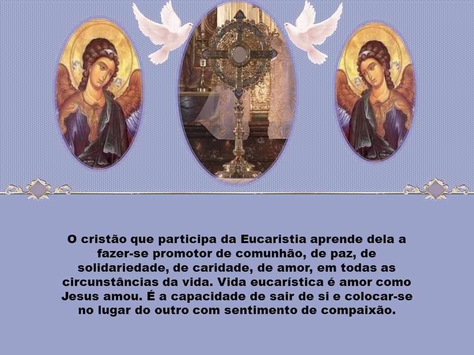 A Eucaristia não é apenas expressão de comunhão na vida da Igreja; ela também é projeto de solidariedade para a humanidade toda. A Igreja renova conti