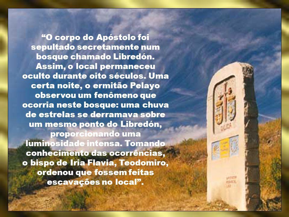 Na iconografia, Santiago é representado: - Como apóstolo (em pé, descalço, de túnica, segurando a Bíblia); - Como peregrino, sentado ou em pé, usando sandálias, túnica, chapéu, cabaça, manto, e aquele que se tornou o símbolo de Santiago por excelência – a vieira (chamada concha de Santiago), a qual era usada freqüentemente pelos peregrinos nos seus chapéus ou mantos – assim como um cajado, para auxiliar os peregrinos nas suas difíceis viagens por montes e vales.