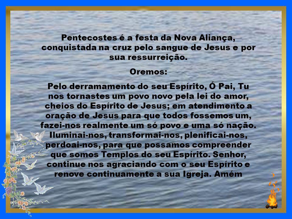Pentecostes é um Mergulho no Poder de Deus que cria corações puros; renova o espírito firme; enche os corações do júbilo da Salvação; sustenta com esp
