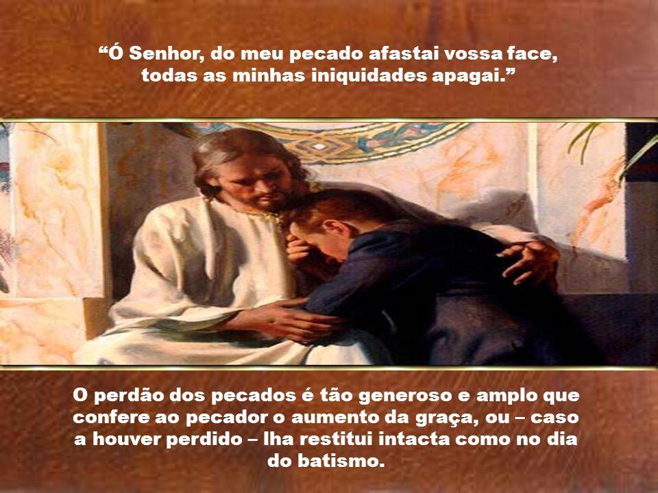 Os efeitos espirituais do sacramento da Penitência são: - a reconciliação com Deus, pela qual o penitente recobra a graça; - a reconciliação com a Igr