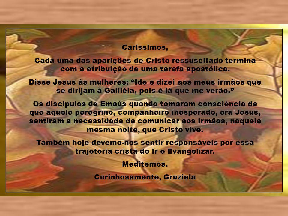 Caríssimos, Cada uma das aparições de Cristo ressuscitado termina com a atribuição de uma tarefa apostólica.