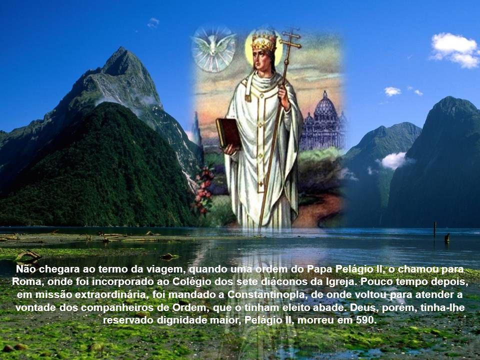 Não chegara ao termo da viagem, quando uma ordem do Papa Pelágio II, o chamou para Roma, onde foi incorporado ao Colégio dos sete diáconos da Igreja.