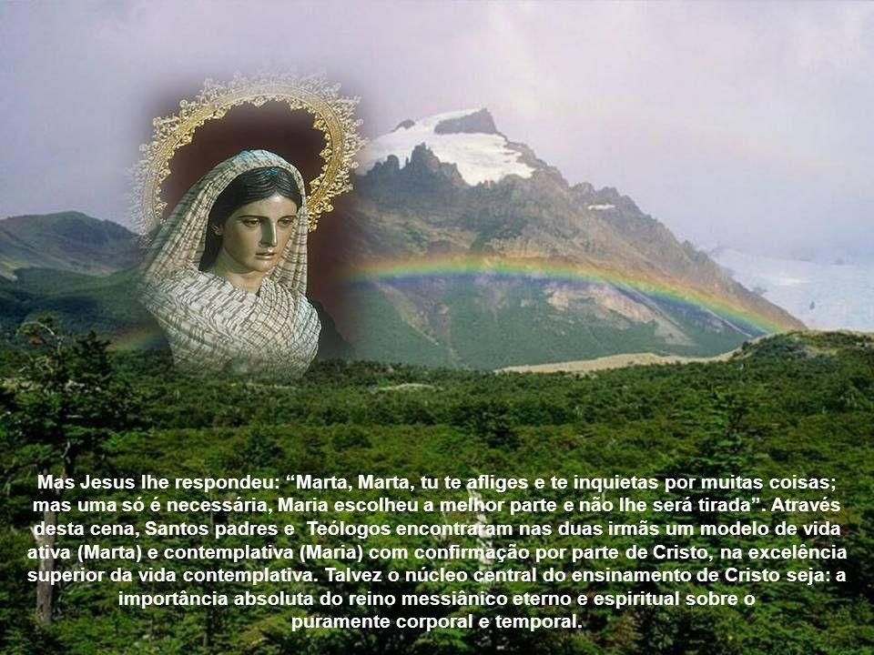 Mas Jesus lhe respondeu: Marta, Marta, tu te afliges e te inquietas por muitas coisas; mas uma só é necessária, Maria escolheu a melhor parte e não lhe será tirada.