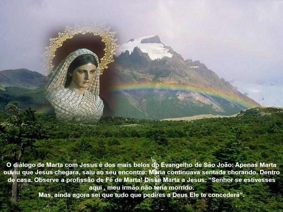 O diálogo de Marta com Jesus é dos mais belos do Evangelho de São João: Apenas Marta ouviu que Jesus chegara, saiu ao seu encontro: Maria continuava sentada chorando.