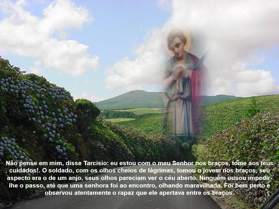 Não pense em mim, disse Tarcisio: eu estou com o meu Senhor nos braços, tome aos teus cuidados!.