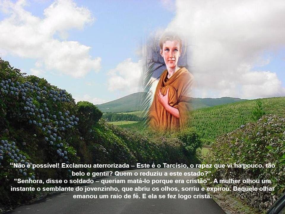 Não pense em mim, disse Tarcisio: eu estou com o meu Senhor nos braços, tome aos teus cuidados!. O soldado, com os olhos cheios de lágrimas, tomou o j