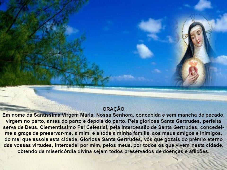 ORAÇÃO Em nome da Santíssima Virgem Maria, Nossa Senhora, concebida e sem mancha de pecado, virgem no parto, antes do parto e depois do parto.