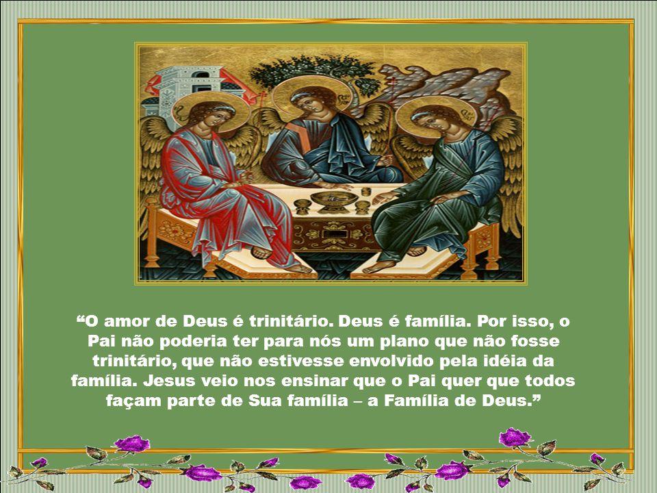 O Deus Trindade Santa é Família eterna, comunhão perfeita das Três Pessoas divinas. O nome de Deus é AMOR. (Papa Bento XVI)