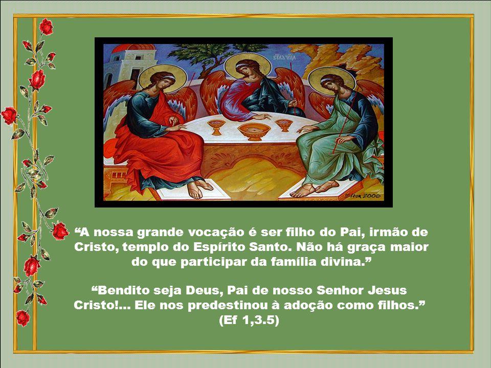 O amor de Deus é trinitário. Deus é família. Por isso, o Pai não poderia ter para nós um plano que não fosse trinitário, que não estivesse envolvido p