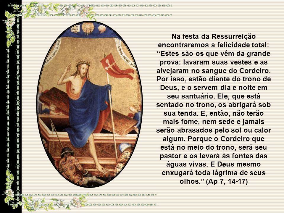 Na festa da Ressurreição encontraremos a felicidade total: Estes são os que vêm da grande prova: lavaram suas vestes e as alvejaram no sangue do Cordeiro.
