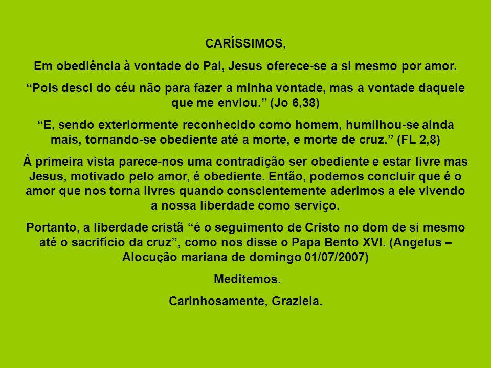 CARÍSSIMOS, Em obediência à vontade do Pai, Jesus oferece-se a si mesmo por amor.