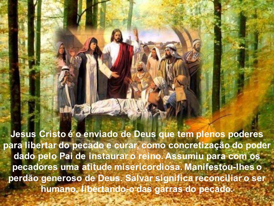 Jesus o vê descer através de um buraco aberto no teto, declara que seus pecados estão perdoados. Esta declaração provoca alguns escribas que estavam p