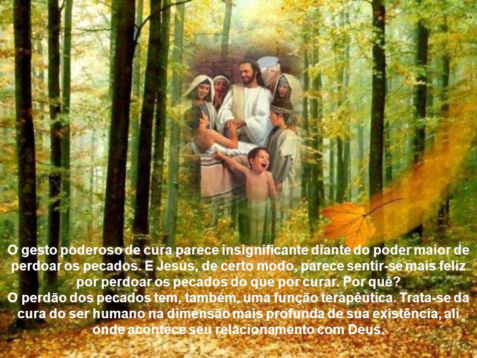 Jesus Cristo é o enviado de Deus que tem plenos poderes para libertar do pecado e curar, como concretização do poder dado pelo Pai de instaurar o rein