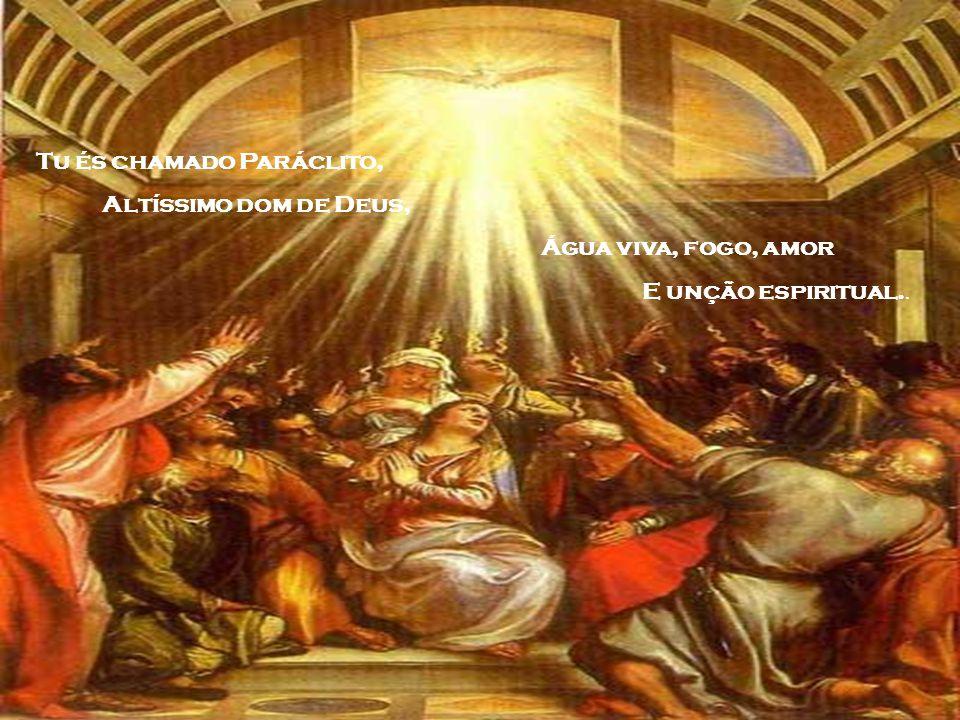 Vem Espírito criador, As mentes dos teus visita, Enche com a graça do céu Os corações que criastes.