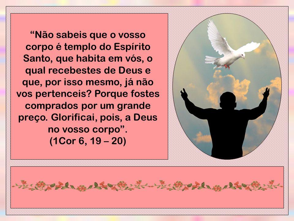 Não sabeis que o vosso corpo é templo do Espírito Santo, que habita em vós, o qual recebestes de Deus e que, por isso mesmo, já não vos pertenceis.