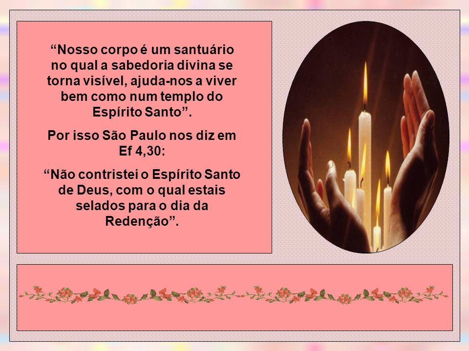 Nosso corpo é um santuário no qual a sabedoria divina se torna visível, ajuda-nos a viver bem como num templo do Espírito Santo.
