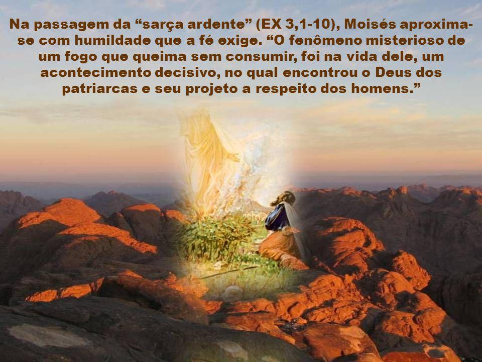 Na passagem da sarça ardente (EX 3,1-10), Moisés aproxima- se com humildade que a fé exige.