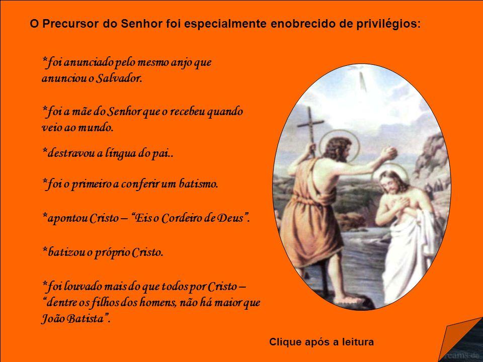Caríssimos, São João Batista é o único santo cujo nascimento e martírio são evocados em duas solenidades pelo povo cristão.