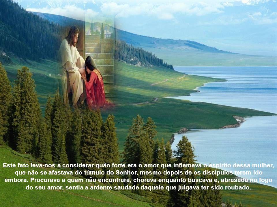 Maria Madalena, tendo ido ao sepulcro, não encontrou o corpo do Senhor. Julgando que fora roubado, foi avisar aos discípulos. Estes vieram também ao s