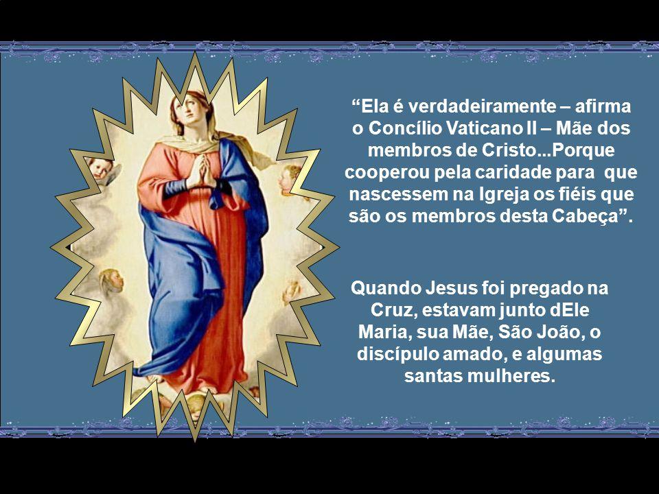 Esta maternidade de Maria é superior à maternidade natural humana, pois ao dar à luz corporalmente ao seu Filho, Jesus Cristo, Cabeça do Corpo Místico que é a Igreja, gerou espiritualmente todos os seus membros: