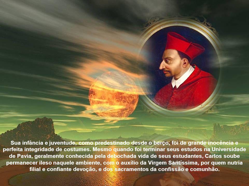 Desabrochou logo cedo em Carlos a vocação sacerdotal, de modo que já aos oito anos recebeu a primeira tonsura; aos 12, seu tio, Júlio César Borromeu, resignou em seu nome a Abadia de São Graciano e São Felino.
