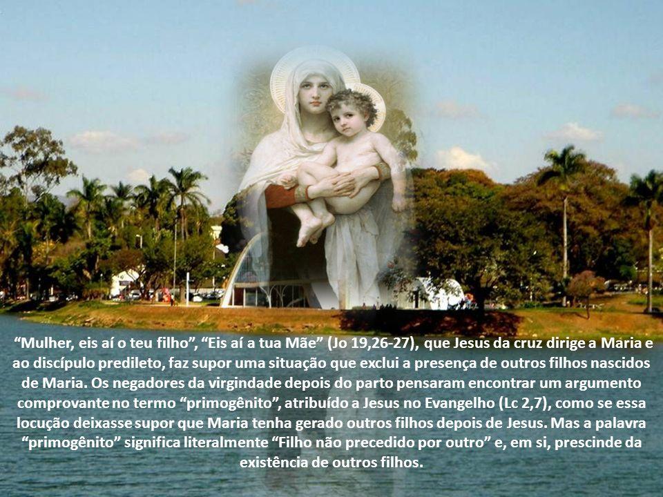 Mulher, eis aí o teu filho, Eis aí a tua Mãe (Jo 19,26-27), que Jesus da cruz dirige a Maria e ao discípulo predileto, faz supor uma situação que exclui a presença de outros filhos nascidos de Maria.