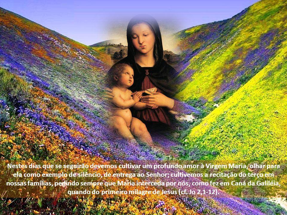 devemos voltar nossos olhos para o exemplo daquela mulher simples de Nazaré, que dizendo sim ao Senhor, permitiu que nela se encarnasse o Verbo de Deu