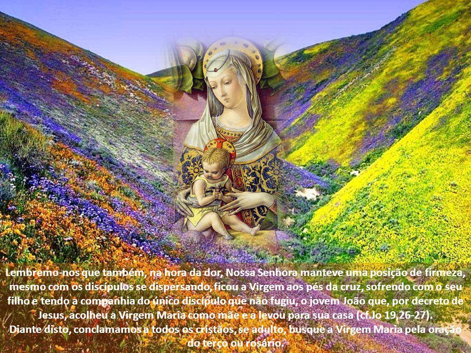 Lembremo-nos que também, na hora da dor, Nossa Senhora manteve uma posição de firmeza, mesmo com os discípulos se dispersando, ficou a Virgem aos pés da cruz, sofrendo com o seu filho e tendo a companhia do único discípulo que não fugiu, o jovem João que, por decreto de Jesus, acolheu a Virgem Maria como mãe e a levou para sua casa (cf.Jo 19,26-27).