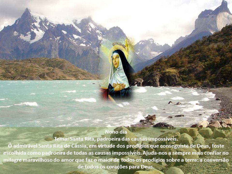 Oitavo dia Tema: Santa Rita, amante do Crucificado. Ó admir á vel Santa Rita de C á ssia, descobriste no amor de Jesus crucificado um caminho para ama