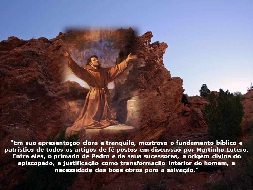 Em sua apresentação clara e tranquila, mostrava o fundamento bíblico e patrístico de todos os artigos de fé postos em discussão por Martinho Lutero.