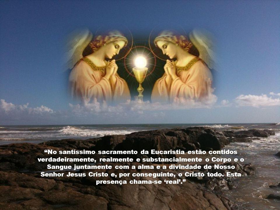 O modo de presença de Cristo sob as espécies eucarísticas é único. Ele eleva a Eucaristia acima de todos os sacramentos e faz com que ela seja como qu