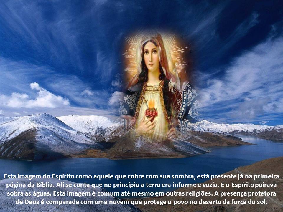 É uma alusão ao texto do Evangelho de Lucas (1,35) quando o anjo Gabriel responde à pergunta da jovem de Nazaré: Como acontecerá isso? A anjo responde