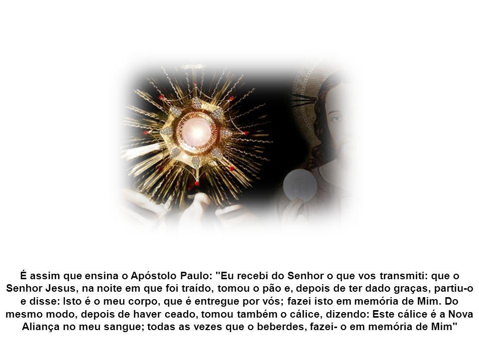 A Eucaristia é grande ação de graças e envio em missão. A Santíssima Eucaristia é o memorial sempre novo e sempre vivo dos sofrimentos de Jesus por nó