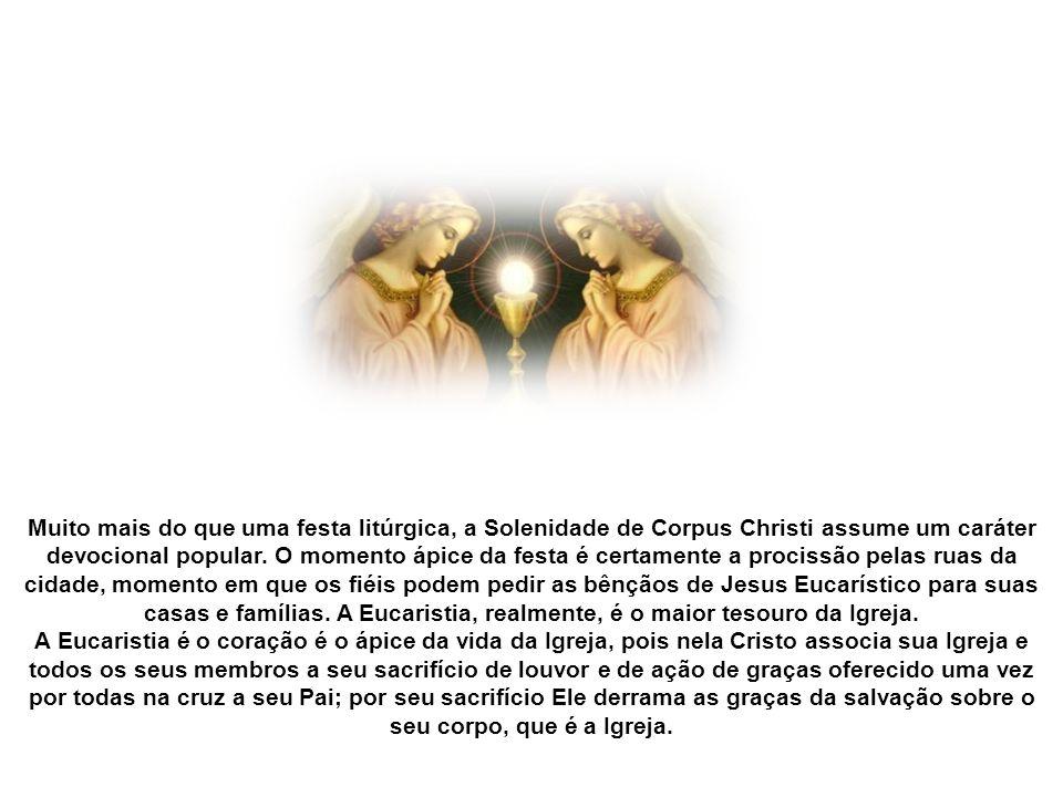 Santo Tomás de Aquino, o chamado doutor angélico, destacava três aspectos teológicos centrais do sacramento da Eucaristia. Primeiro, a Eucaristia faz