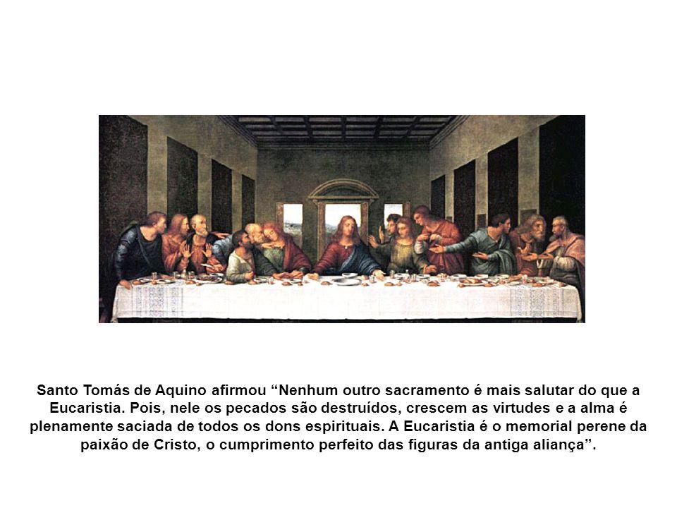 A Eucaristia é um dos sete sacramentos e foi instituído na Última Ceia, quando Jesus disse: Este é o meu corpo...isto é o meu sangue...